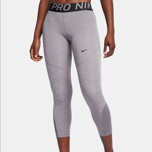 Nike Pro Grey Metallic Cropped Leggings. NEW XL